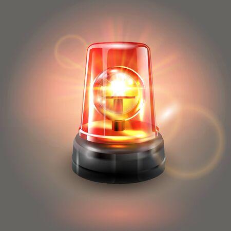 Red flashing police beacon alarm. Police light siren emergency equipment. Danger flash ambulance beacon. Vector illustration. Vektorové ilustrace