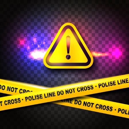 Attention sign and police lines. Vector illustration