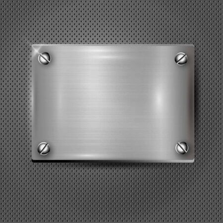 Silver texture plate with screws. Vector illustration
