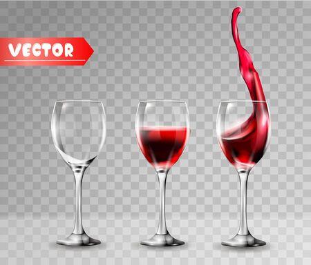 Bicchiere da vino trasparente. Vuoto e pieno. Vino rosso, spruzzata. Realismo 3D, icona del vettore.