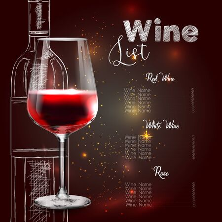 Vector design for wine list. Glass of wine.