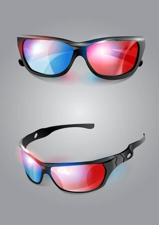 3d cinema glasses icon isolated on background. Vector illustration