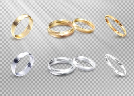 Vector luxury silver and gold wedding, marriage rings isolated on transparent checkered background. Golden ring to wedding, illustration of silver luxury rings.