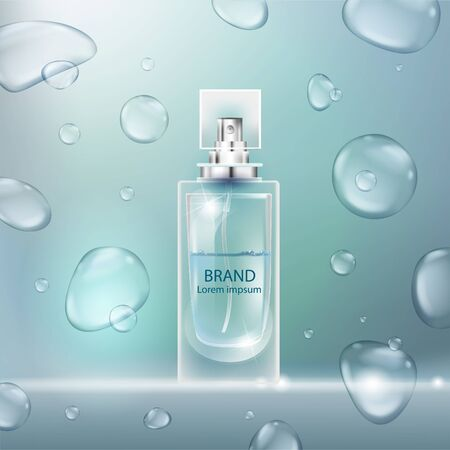 Vector illustration of a realistic style perfume in a glass bottle with bubbles.