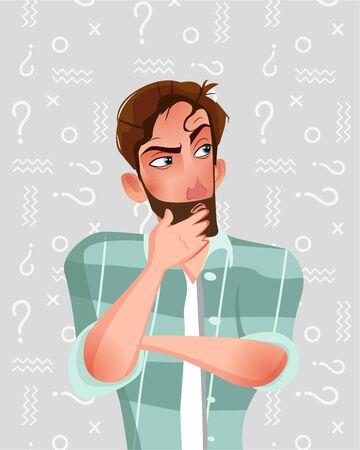 Man is thinking. Vector illustration in cartoon style.