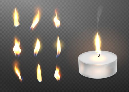 Burning realistic 3d candle light and different flame of a candle icon set closeup isolated on transparent background. Tea candle or candle in a case. Vector illustration. Illustration