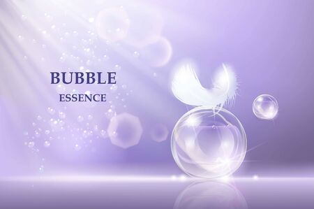 Bubble Essence Collagen and Serum Background Template for Skin Care Cosmetic Product. Vector illustration.