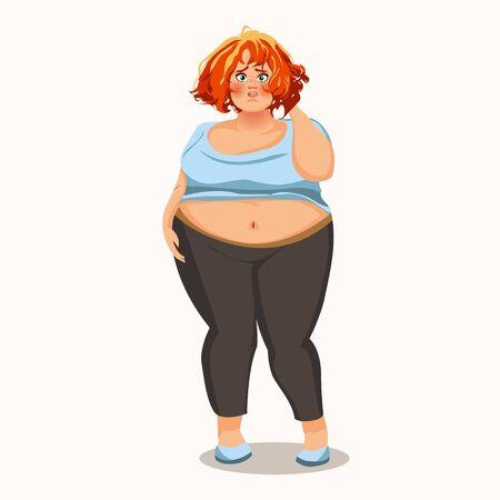 Chica gorda divertida. Carácter vectorial.