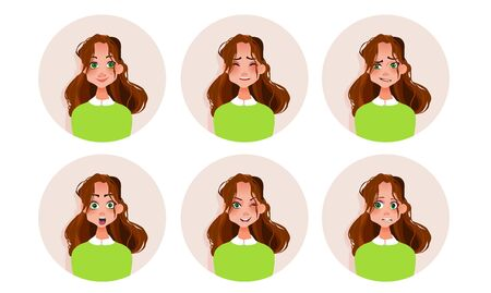 Set of woman's emotions. Facial expression. Girl Avatar. Vector illustration.