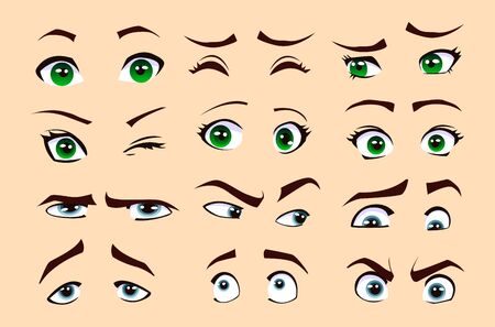 Man's and woman's emotions isolated vector eyes and eyebrows silhouette, face parts. Vectores