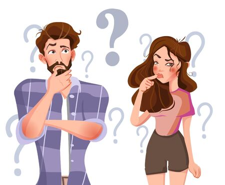 People with question marks vector illustration. Man and woman with question, thinking guy. Vector illustration.