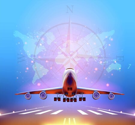 Airplane taking off from the airport, front view. Vector Concept Travel around the World.