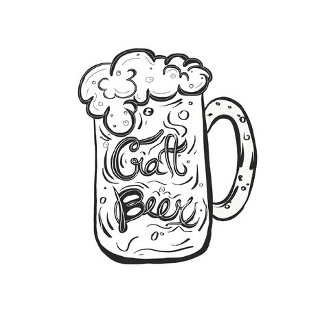 Mug with the sign craft beer in it. Hand drawn illustration with beer.
