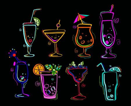 Neon colors on a black background Cocktail Party vector illustration Illusztráció