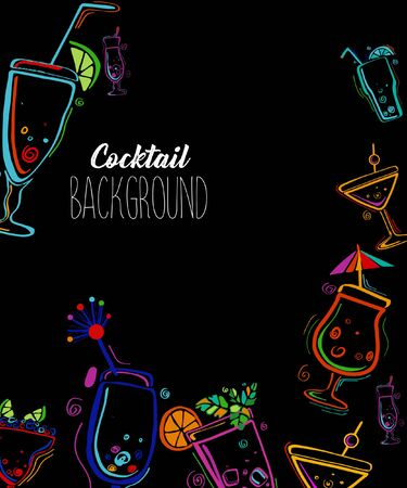 Neon colors on a black background Cocktail Party vector illustration. Template design for menu, bar.