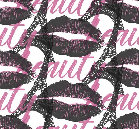 Fashion seamless pattern with imprint of lips and Eiffel tower. Illustration