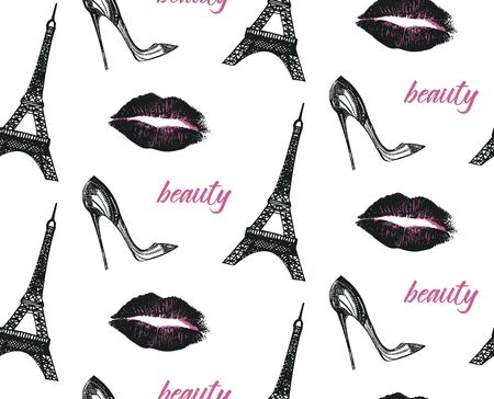 Fashion seamless pattern with imprint of lips, Eiffel tower and high heel shoe.