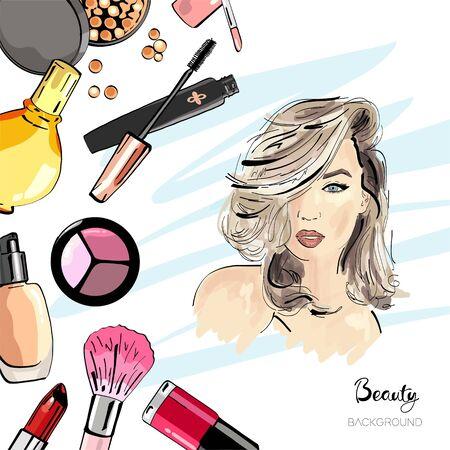 Cosmetics. Fashion illustration with stylish young girl.