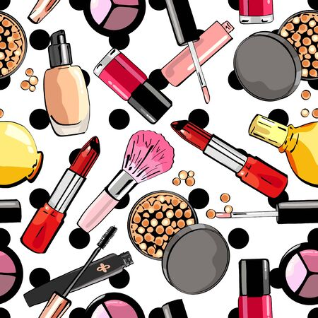 Seamless pattern with make up products. Cosmetics.