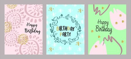 Set of 3 cute creative cards templates with Happy birthday theme design. Vector illustration.