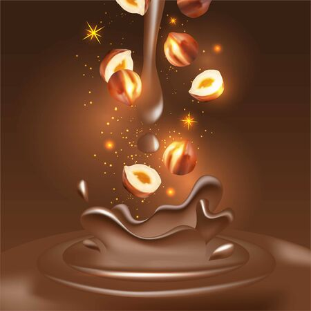 Vector 3D realistic illustration, splashes of chocolate with falling piece of hazelnuts.