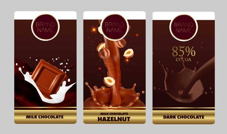 Vector 3D realistic illustration, splashes of chocolate with falling piece of hazelnuts. Standard-Bild - 133157486