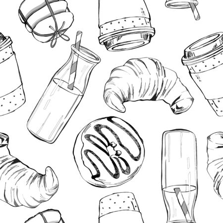 Beautiful hand drawn vector seamless pattern with coffee, donut, milk, cookie and croissant.