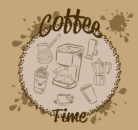 Set of doodles, hand drawn rough simple sketches, various kinds of coffee and devices for coffee making. Vector isolated on white background for cafe menu, fliers.