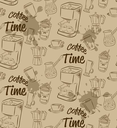 Hand drawn seamless pattern with various kinds of coffee and devices for coffee making.