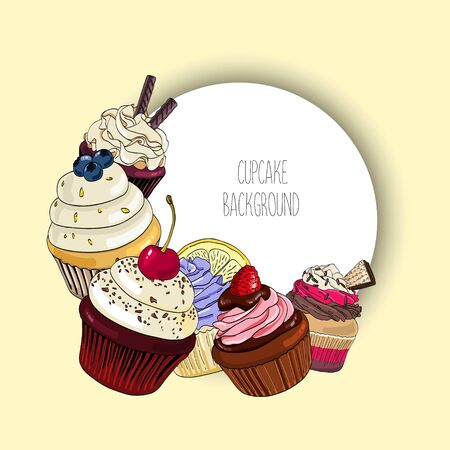 Vector background with different cupcakes and round border for text