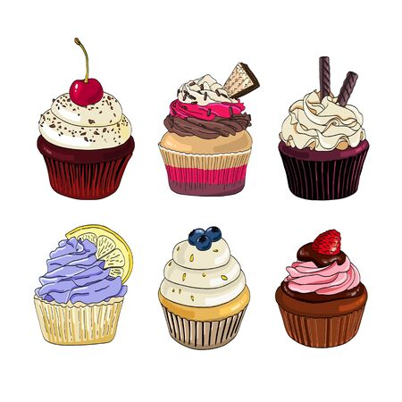Set of cupcakes on a white background.