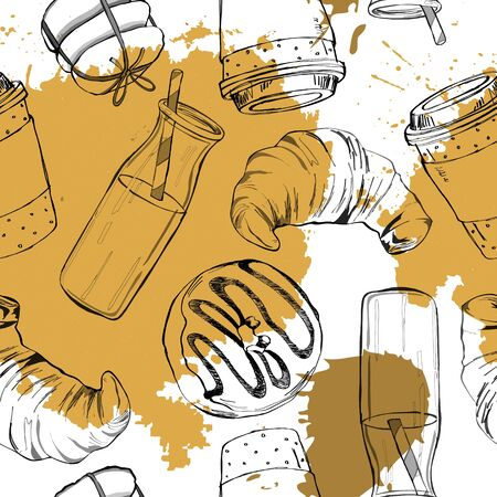 Seamless doodle coffee pattern. 向量圖像
