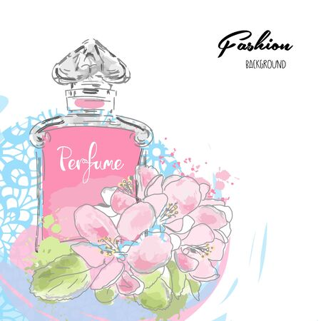 Modern background beautiful perfume bottle and flowers.