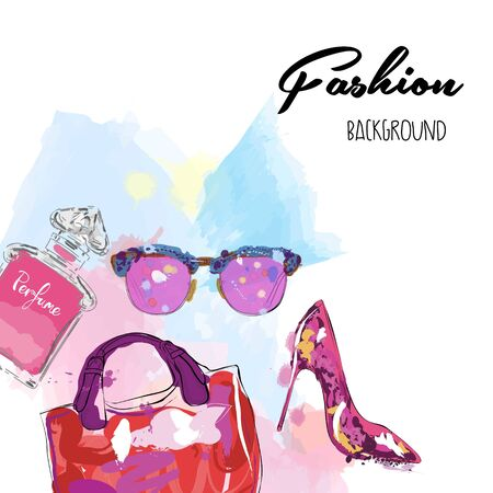 Watercolor background with womens accessories. Fashion illustration.