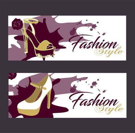 Beautiful card with high heel shoe. Fashion illustration.