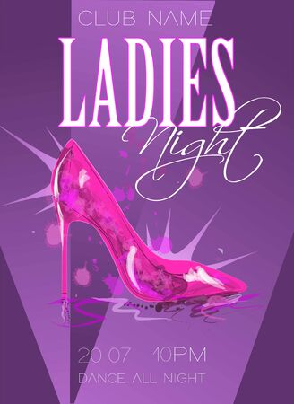 Ladies night poster illustration with high heeled shoes. Illustration