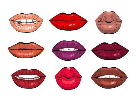 Female lips set.