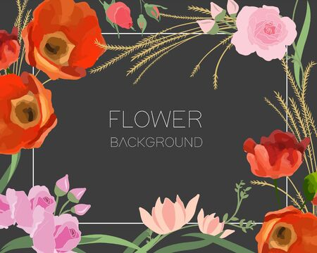 Flower background. Composition with poppy flowers. Trendy design. Banque d'images - 133529712