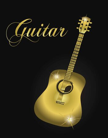 Golden guitar silhouette. Ilustrace