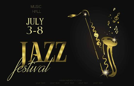 Jazz music festival, poster background template. Saxophone with music notes. Flyer. Vector design.