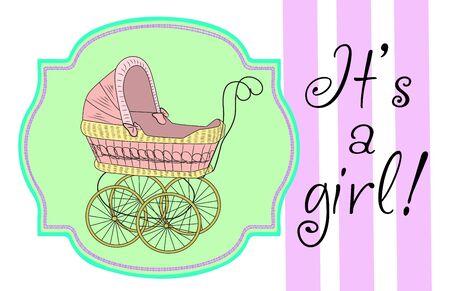 Baby announcement card. Vector illustration. Stock fotó - 133529781