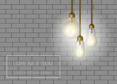 Vector background with brick wall and loft bulbs. 일러스트
