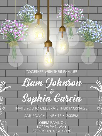 Wedding card in loft style with brick wall and bulbs. 일러스트