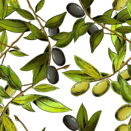 Seamless pattern with olives.