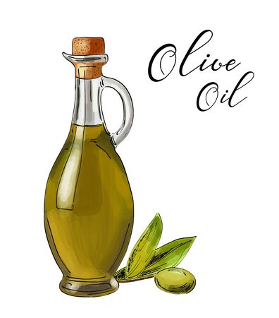 Vector bottle of olive oil with green olives. Illusztráció