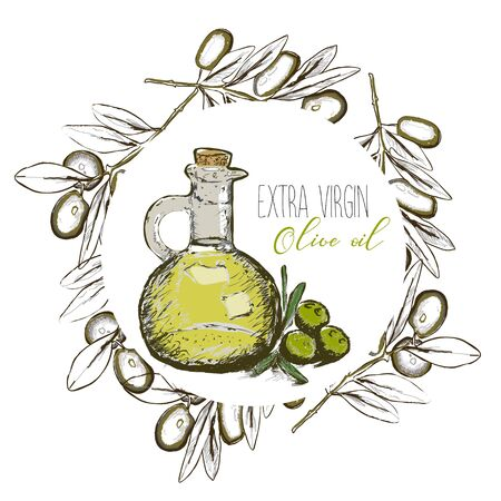 Hand drawn olive oil background.