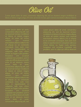 Olive oil and text for flyer design. Illusztráció