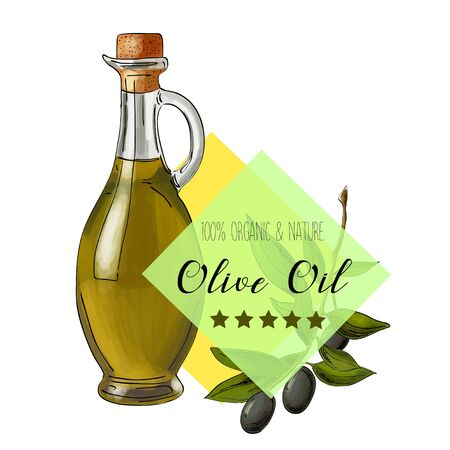 Vector olive oil label. Elegant design for olive oil packaging.
