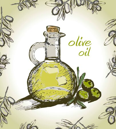 Vector bottle of olive oil with olive branch. Seamless pattern.