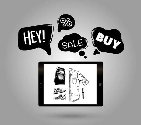 Online shopping concept. Vector illustration.  イラスト・ベクター素材